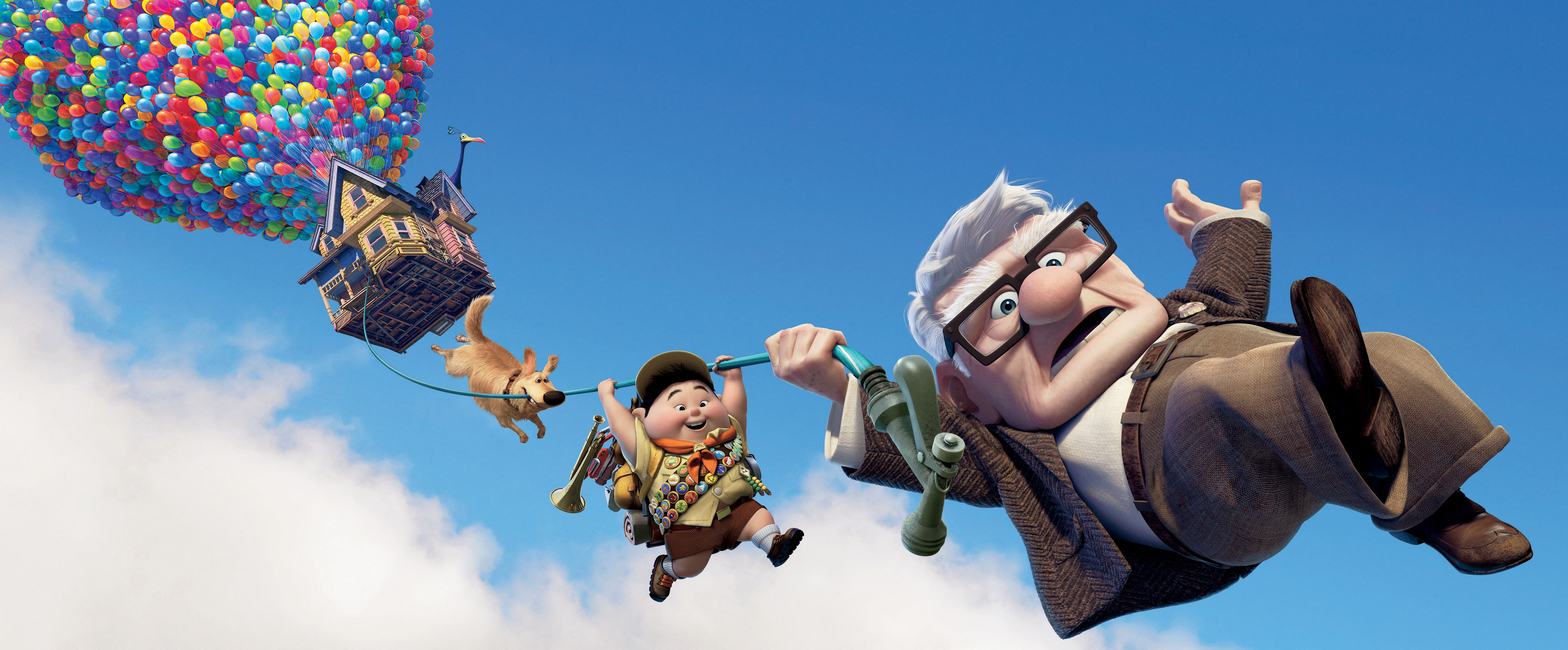 "Dug, from left, Russell, and Carl Fredricksen in Disney/Pixar's animation, ""Up."" (Disney/Pixar/MCT)"